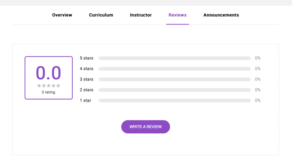 Course options for a logged in student, with Reviews tab selected.